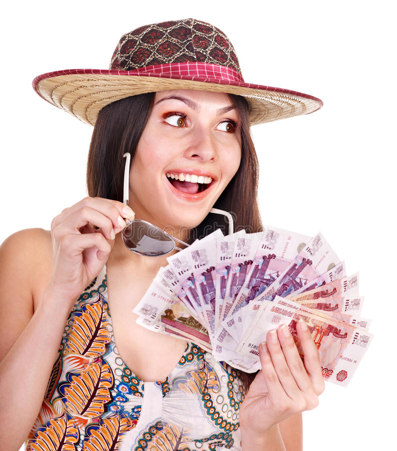 Download Woman With  Money. Russian Rouble. Stock Image - Image: 21634439