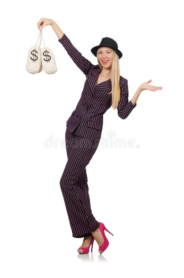 Woman with money sacks isolated. On white stock photography