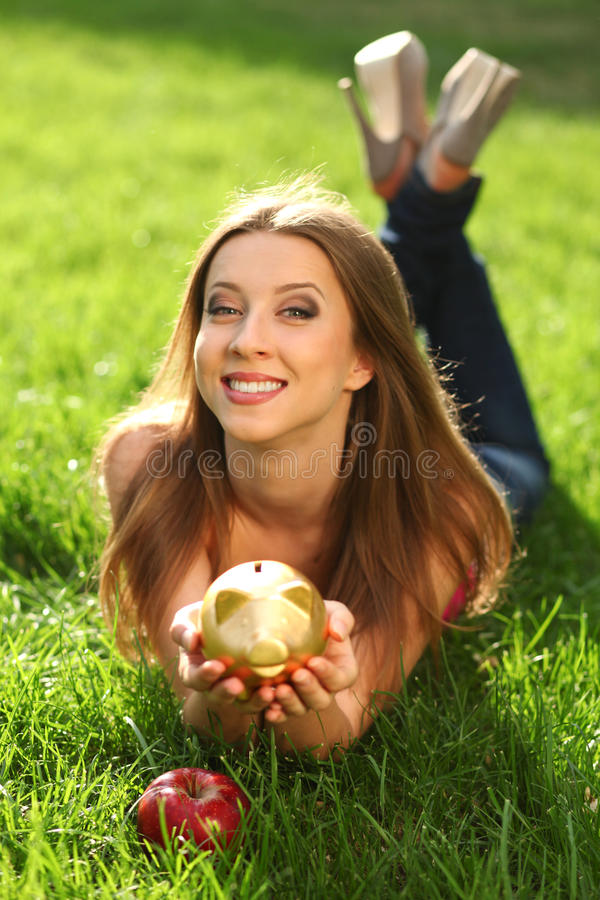 Download Woman with moneybox stock image. Image of gold, outdoors - 22815013