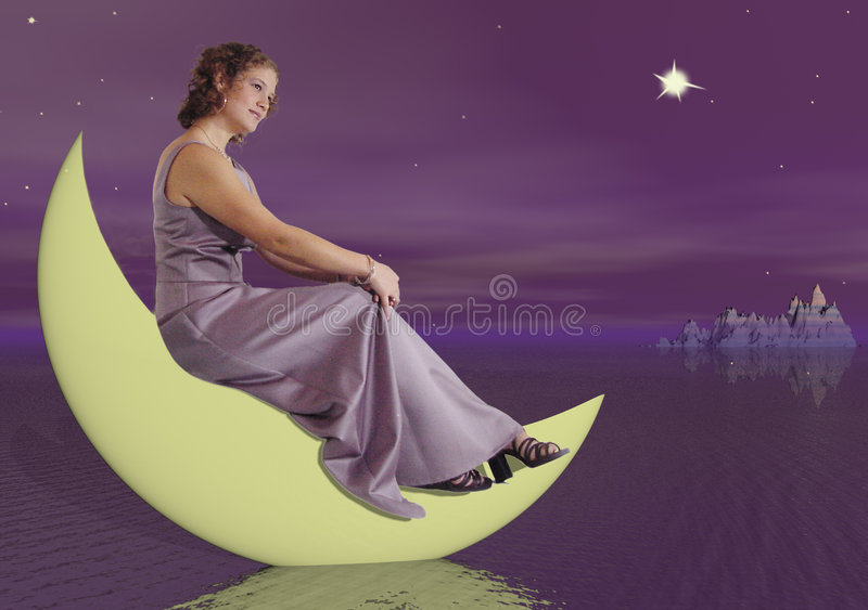 Woman on the Moon stock photo