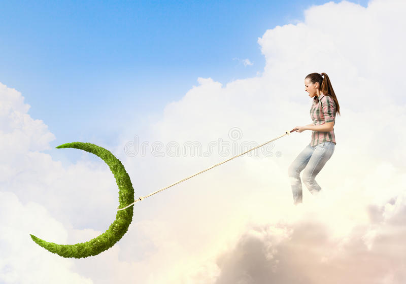 Woman with moon royalty free stock photography