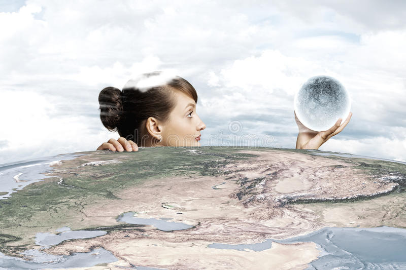 Woman with moon stock image