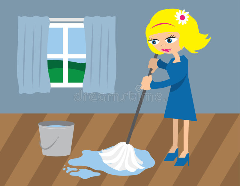 Download Woman Mopping the Floor stock vector. Image of scrub - 22323738