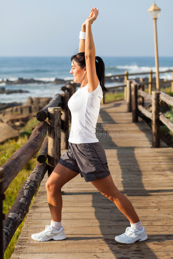 Woman morning exercise stock images