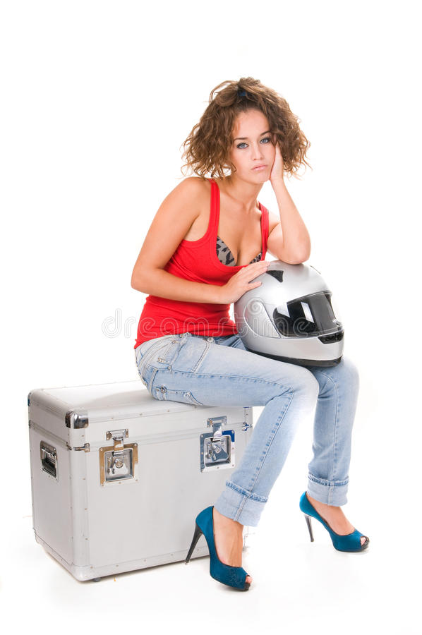Download Woman Moto Sitting With Helmet Stock Photo - Image: 11988688