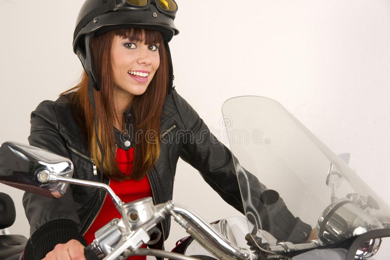 Download Woman Smiling Riding Motorcycle Helmet Handlebars Stock Images - Image: 20962684