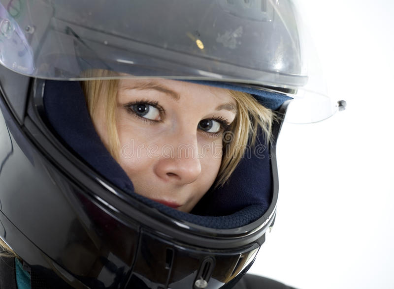 Download Woman In A Motorcycle Helmet Stock Image - Image: 14171673