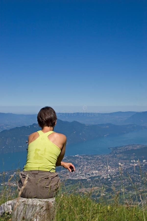 Download Woman in mountain stock photo. Image of awakening, maintenance - 3217652