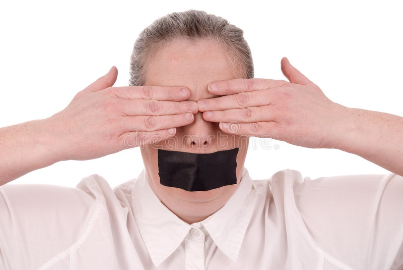 Woman with mouth taped royalty free stock image