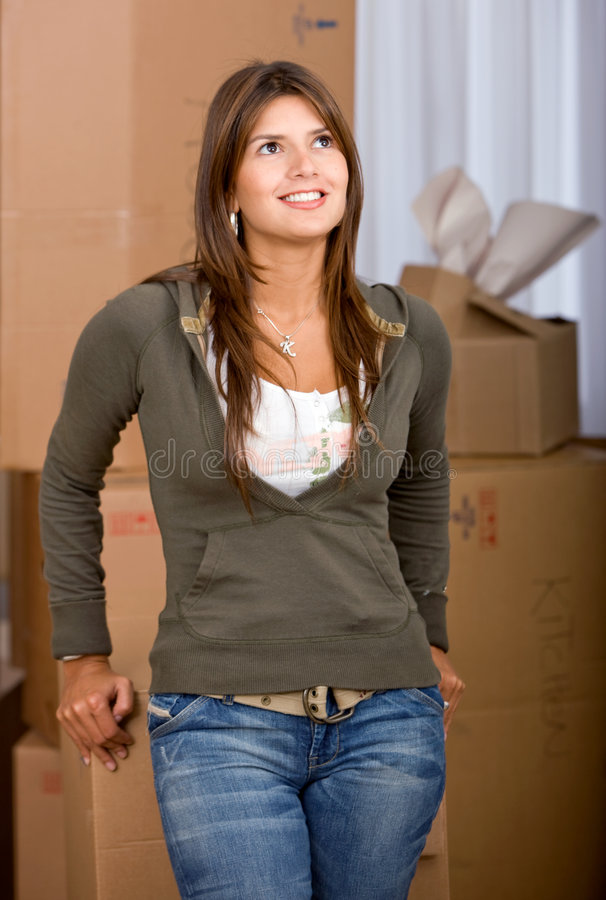 Download Woman moving homes stock photo. Image of beautiful, person - 7159712