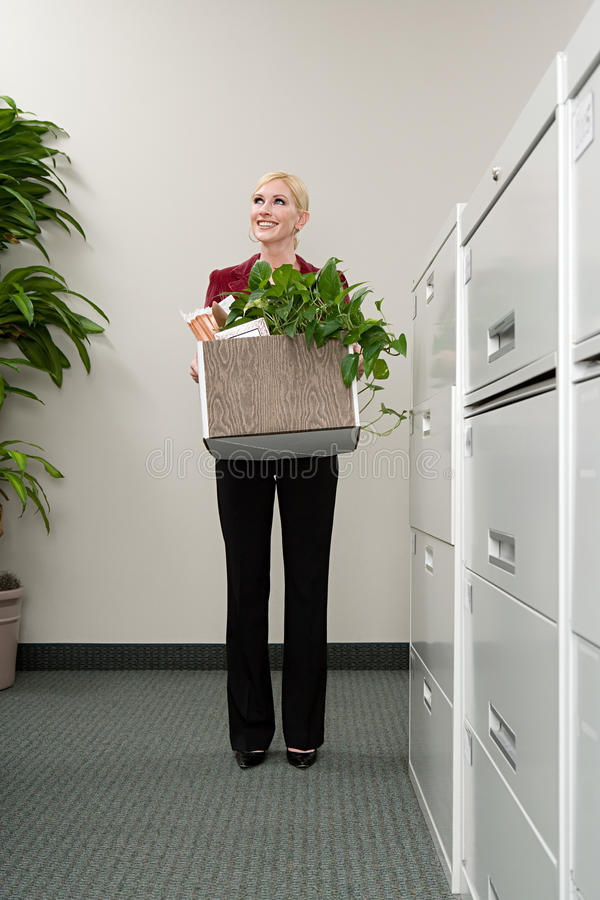 Woman moving office royalty free stock images