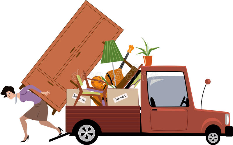 Woman Moving Stock Vector Illustration Of Belongings