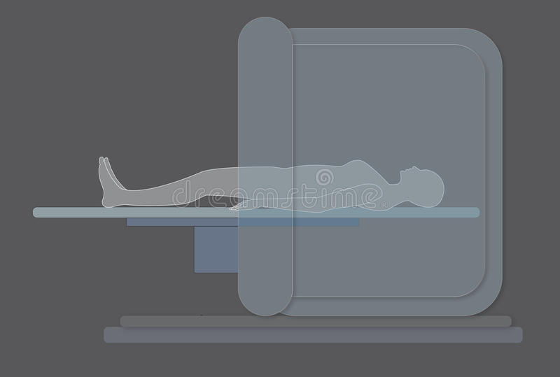 Woman in MRI scanner (grey background) royalty free stock photos
