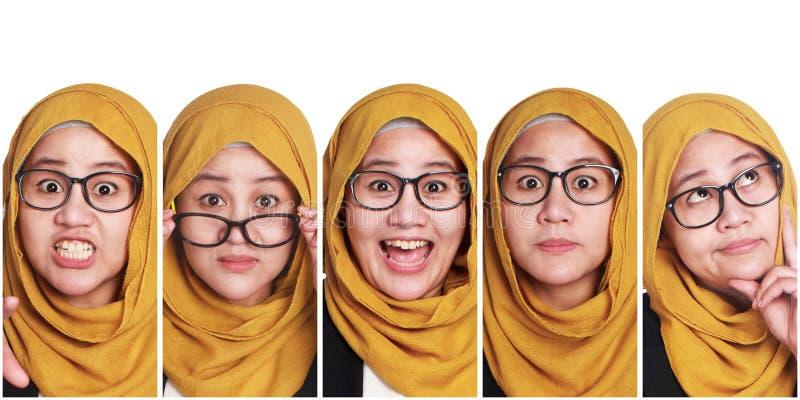 Woman& muçulmano x27; colagem das expressões faciais de s imagem de stock