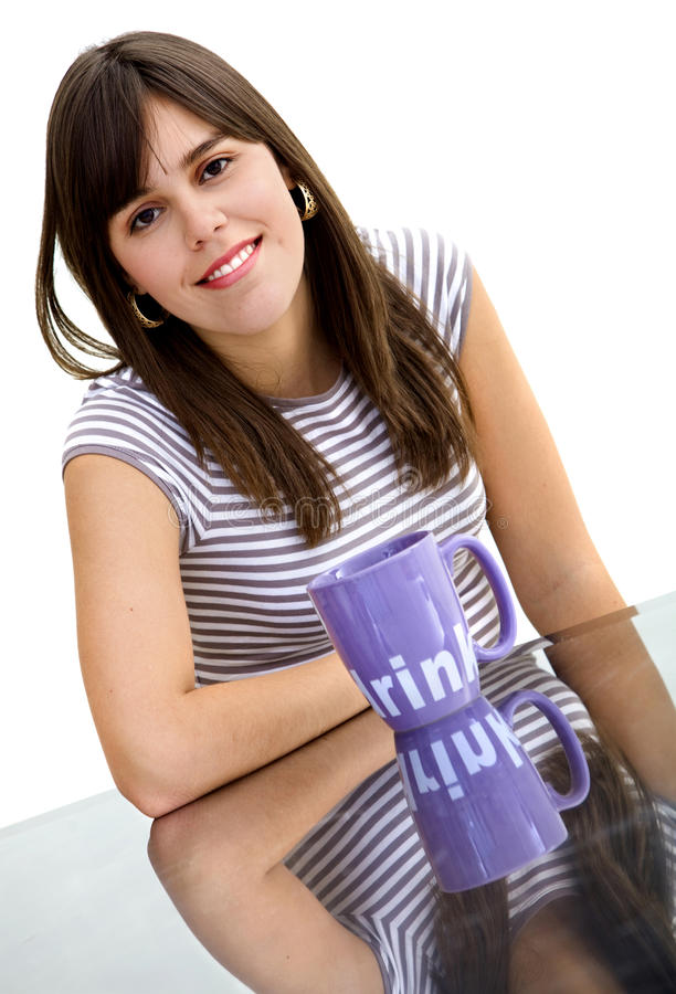 Download Woman with a mug stock photo. Image of girl, female, pretty - 11156596