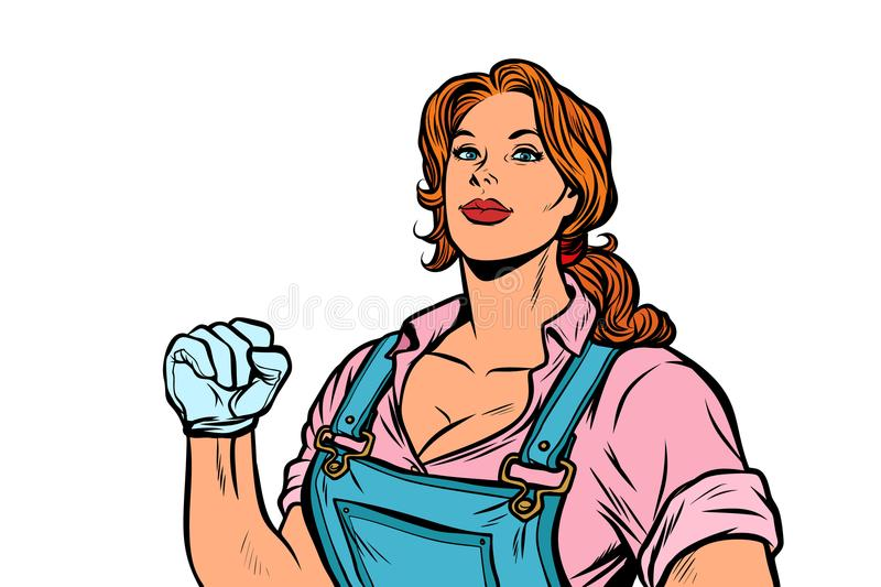 Woman muscular strong worker vector illustration