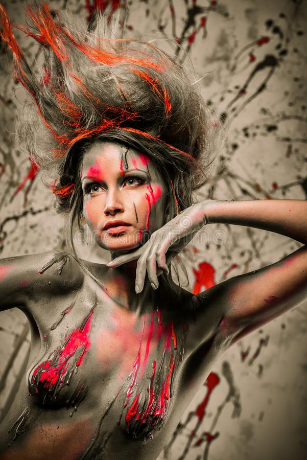 Download Woman muse with body art stock image. Image of creative - 38476817