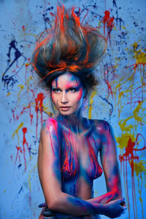 Download Woman muse with body art stock image. Image of girl, hairdo - 38477299