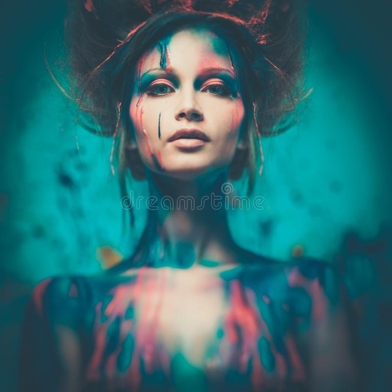 Woman muse with body art stock photography