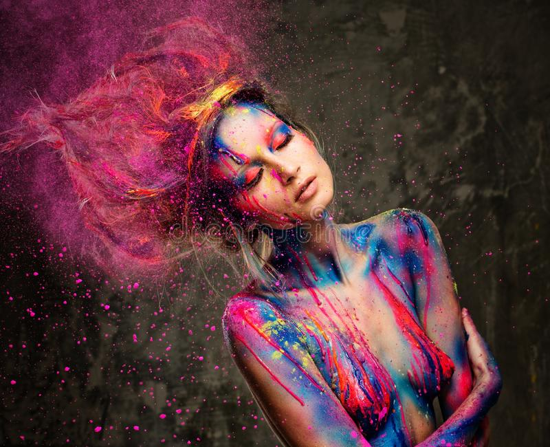 Download Woman muse with body art stock photo. Image of creative - 38917446