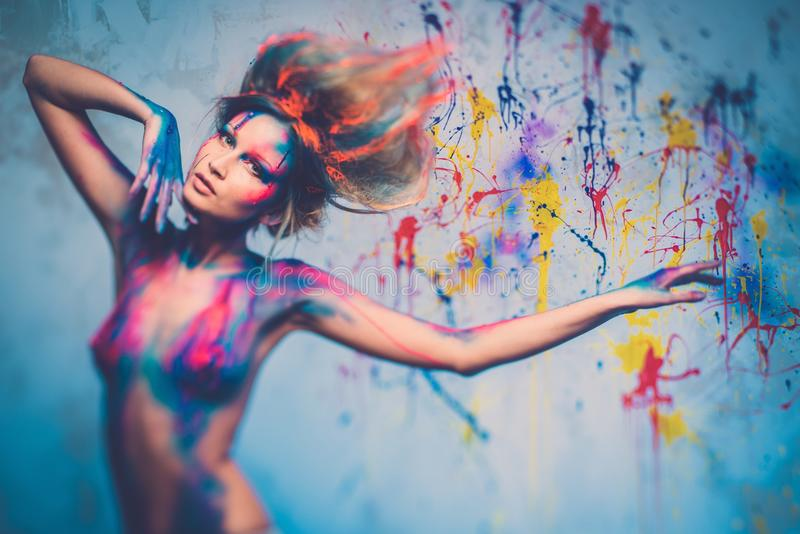 Download Woman muse with body art stock photo. Image of diva, expressive - 39354224