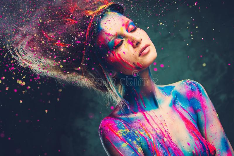 Woman muse with creative body ar stock photos