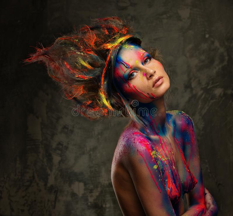 Woman Muse With Creative Body Art Stock Photos