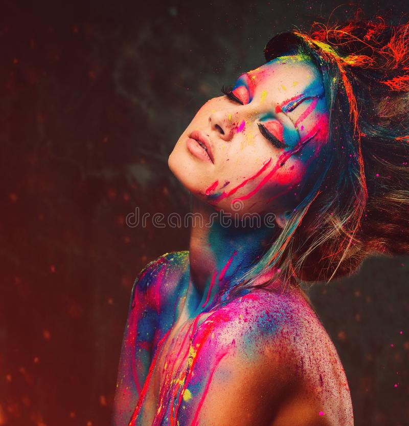 Woman muse with creative body art royalty free stock photo