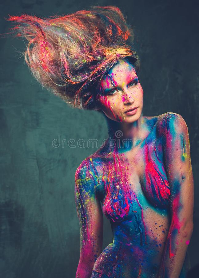 Woman muse with creative body stock photos