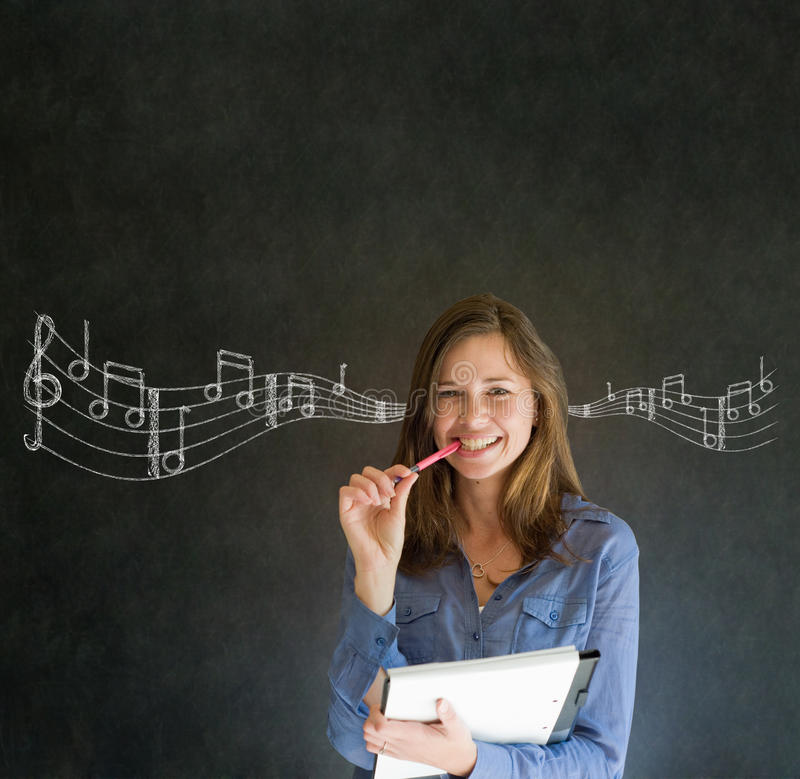 Learn music business woman or teacher with chalk background royalty free stock photography