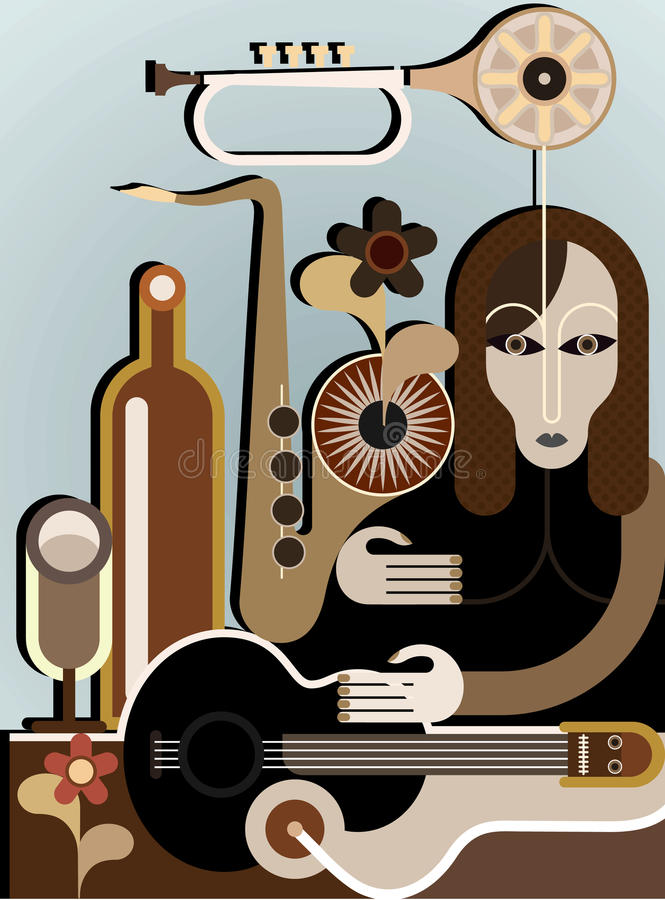 Download Woman With Musical Instruments Stock Vector - Illustration of house, shade: 23399870