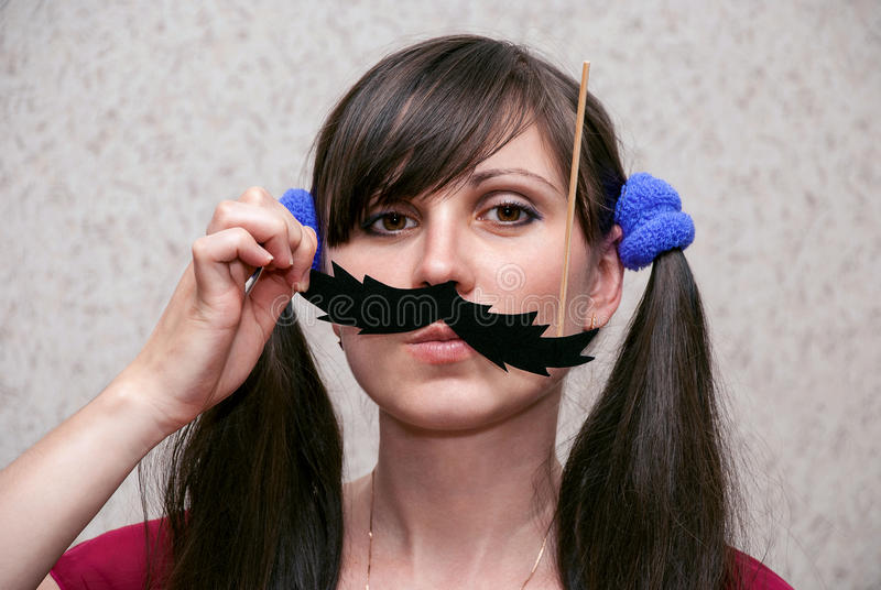 Woman with mustache stock images