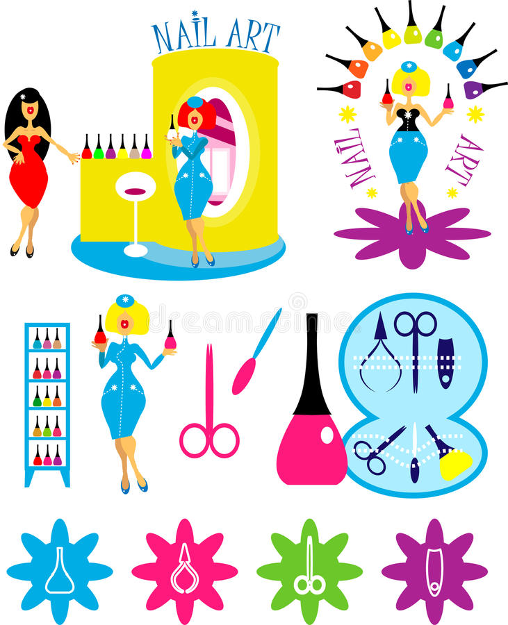 Woman in nail art salon icons. Beautiful cartoon woman in nail art salon icons and logo set. One of series lady style backgrounds, fashion illustrations