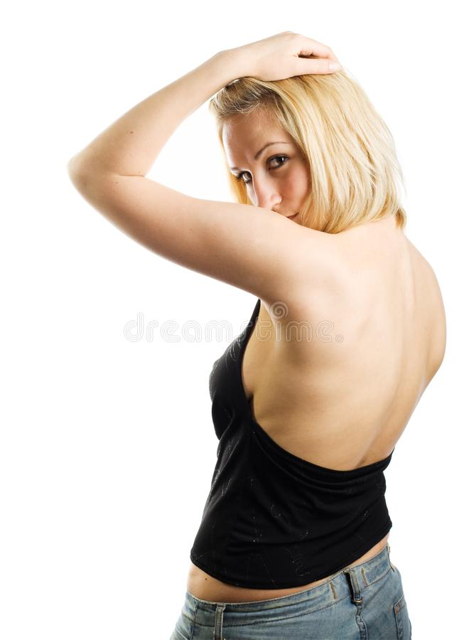 Woman with naked back royalty free stock images