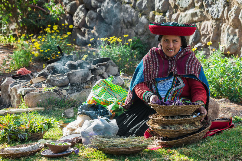 Woman with natural dyes peruvian Andes Cuzco Peru royalty free stock photography