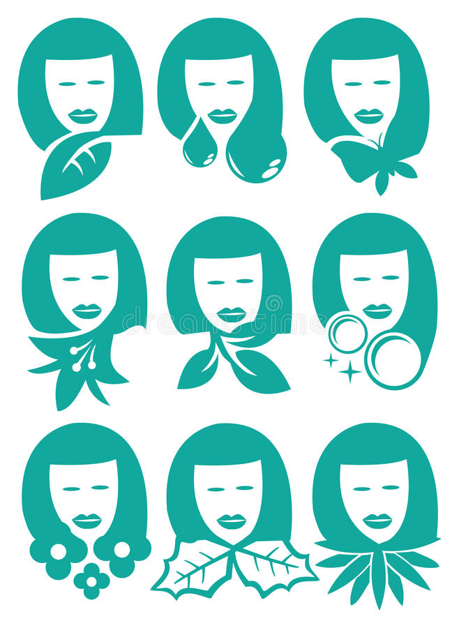 Woman with Nature Element Symbols Vector Icon Set stock illustration