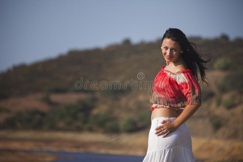 Download Woman on a nature walk stock photo. Image of river, pensive - 20975574