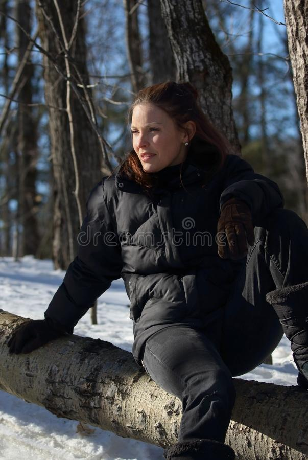 Woman in nature during winter stock images