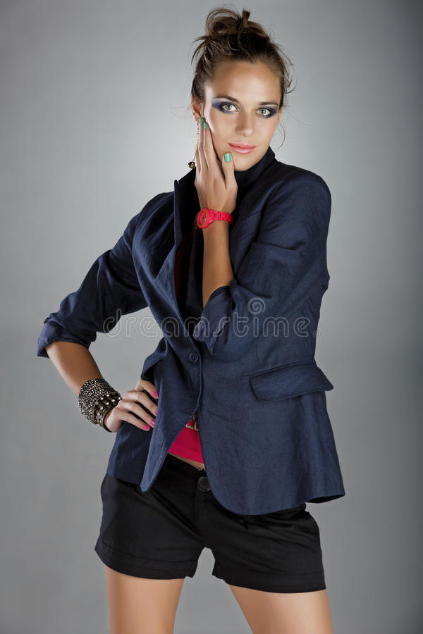Download Woman In Navy Linen Jacket And Shorts Stock Photo - Image: 24542584