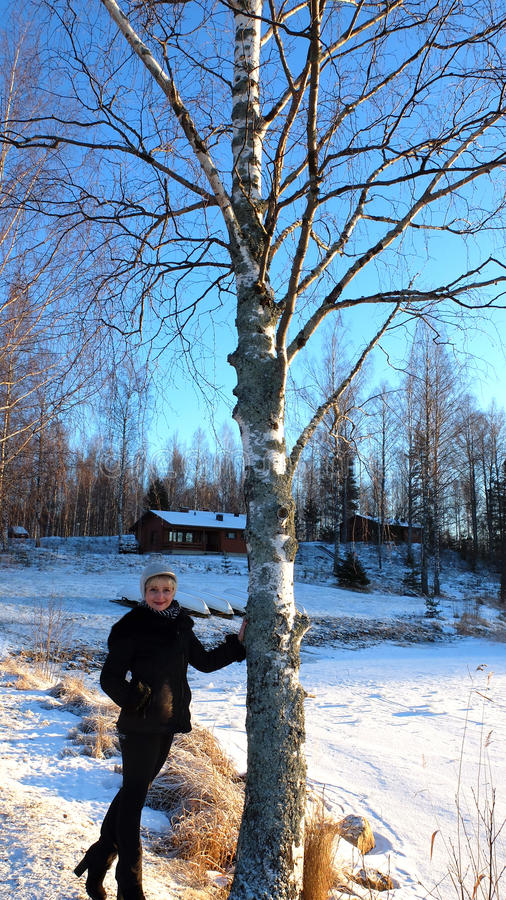 Download The Woman Near The Birch Stock Photo - Image: 83705062