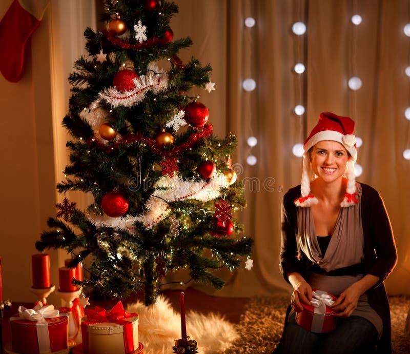 Woman Near Christmas Tree Holding Gift Stock Image