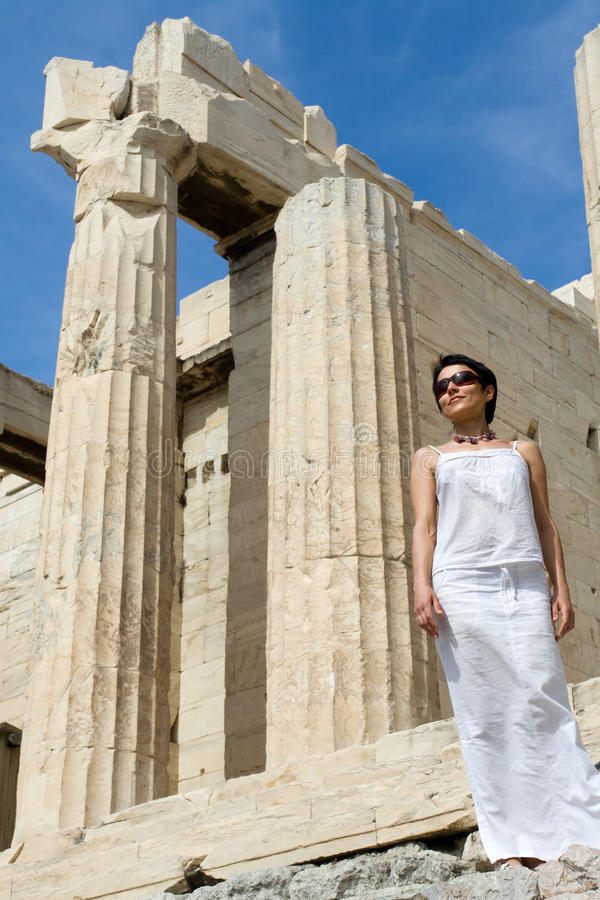 Download Woman Near Propylaea Columns Acropolis Athens Gree Stock Photography - Image: 15569102