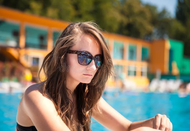Download Woman near swimming pool stock image. Image of human - 33066565