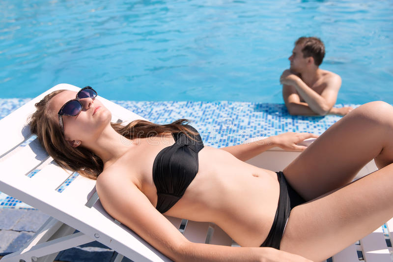 Download Woman near swimming pool stock image. Image of cheerful - 33066587