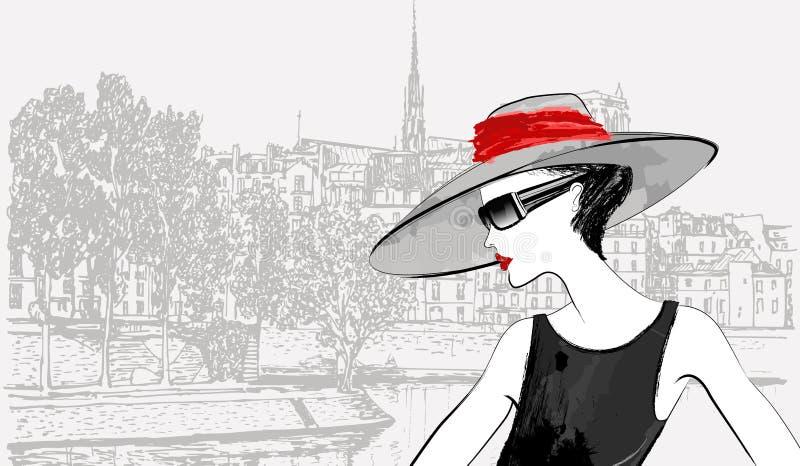 Woman nearby Ile de la cite in Paris royalty free illustration