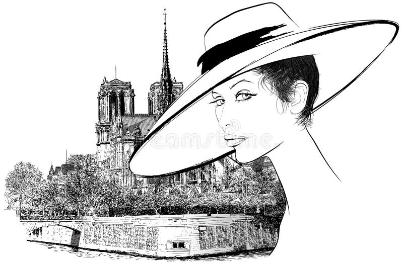 Download Woman Nearby Notre Dame In Paris Stock Vector - Illustration of history, france: 15793503