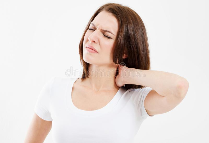 Woman with neck pain isolated over white background stock image