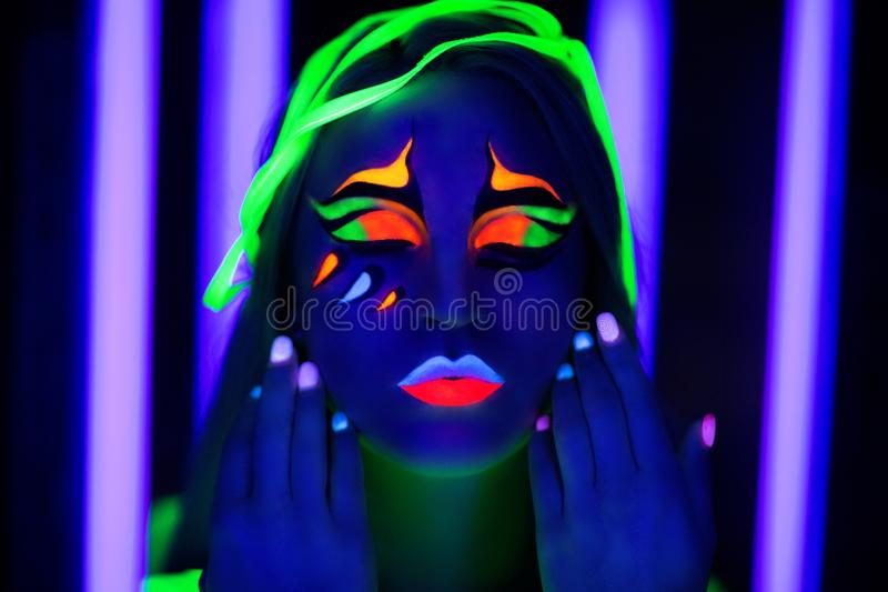 Woman neon art stock photography