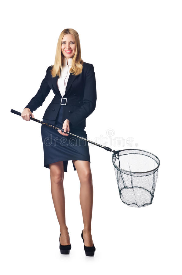 Woman With Net Isolated Stock Photos