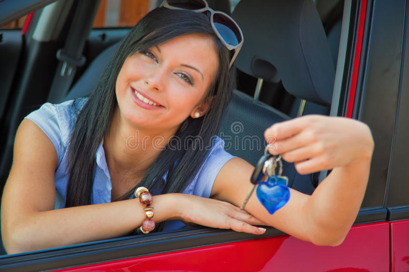 Download Woman with new car stock photo. Image of drivers, emotion - 14630260